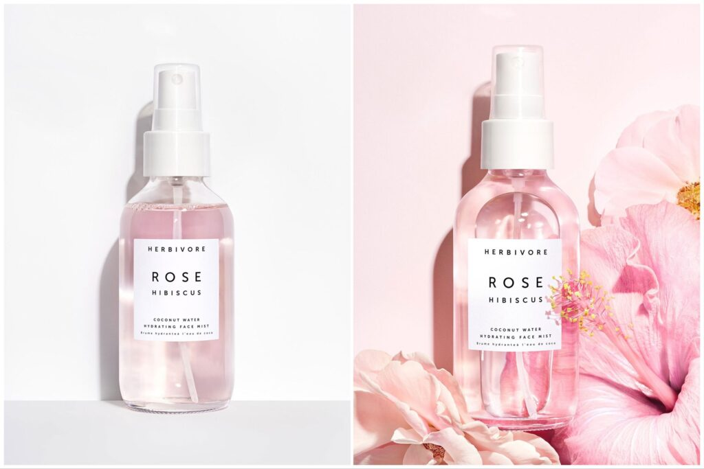 two bottles of Herbivore Face Fog, one against a plain white background, one with flowers.