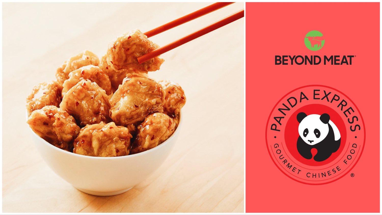 A bowl of Panda Express and Beyond Meat's vegan orange chicken beside the Beyond Meat and Panda Express logos