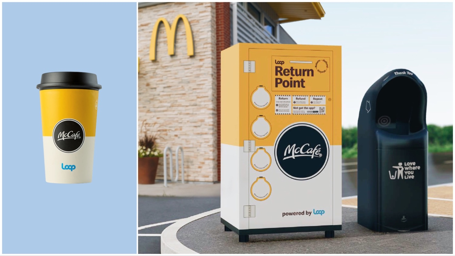 Split image featuring a close up of McDonald's reusable coffee cup (left) and the McDonald's return point (right).