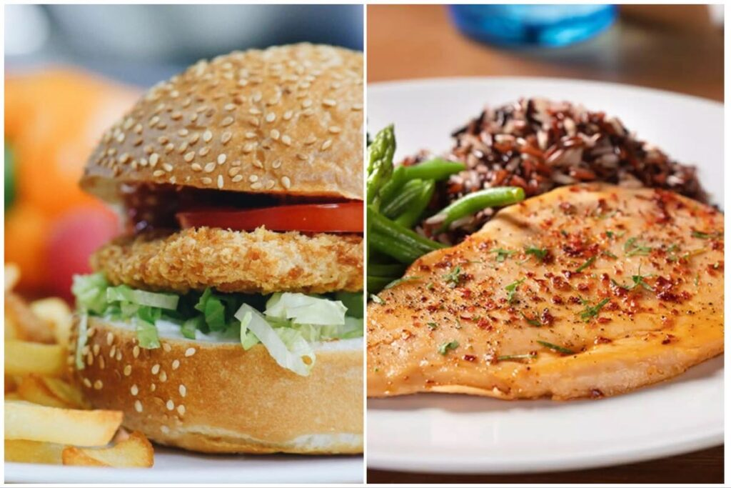 Split image of a cultured burger (left) and a chicken fillet (right) by Nestlé partners Future Meat Technologies.