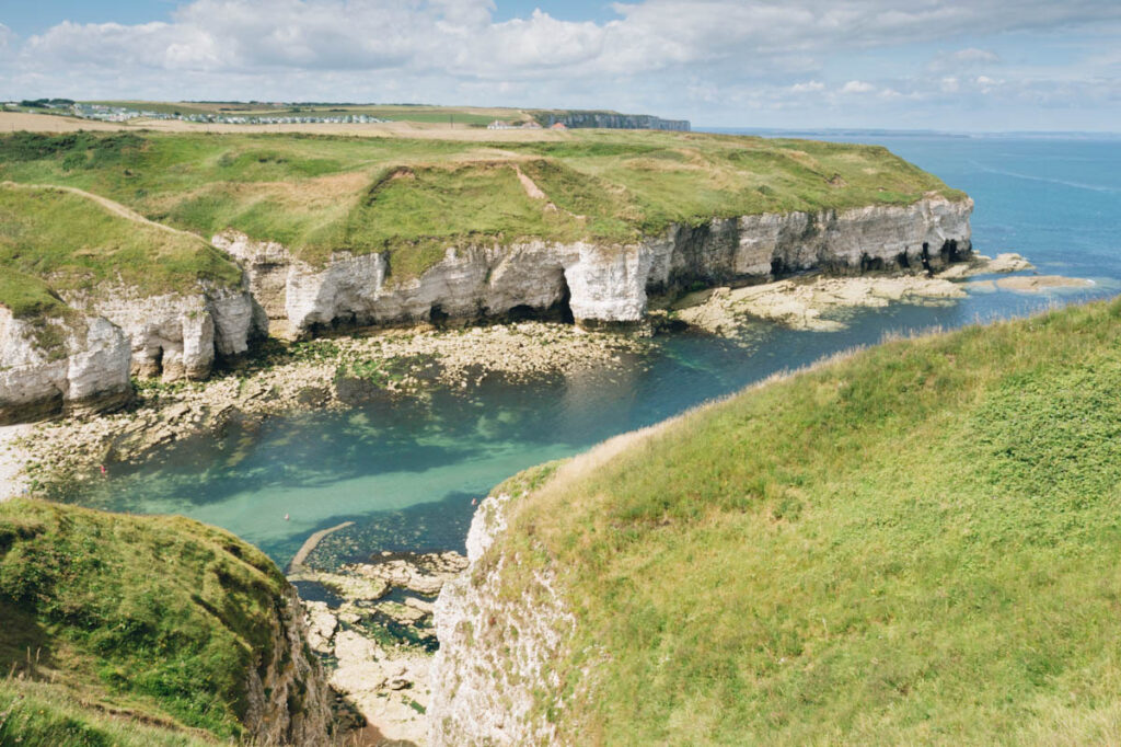 Photo of a cove at North Landing on the Yorkshire coast, England.