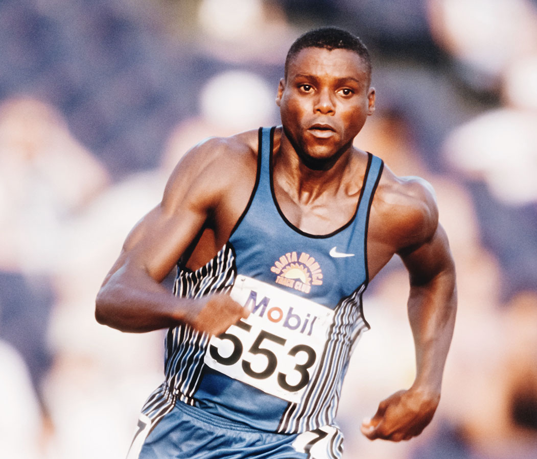Carl Lewis, 1984 Los Angeles, 1988 Seoul, 1992 Barcelona, and 1996 Atlanta Olympics