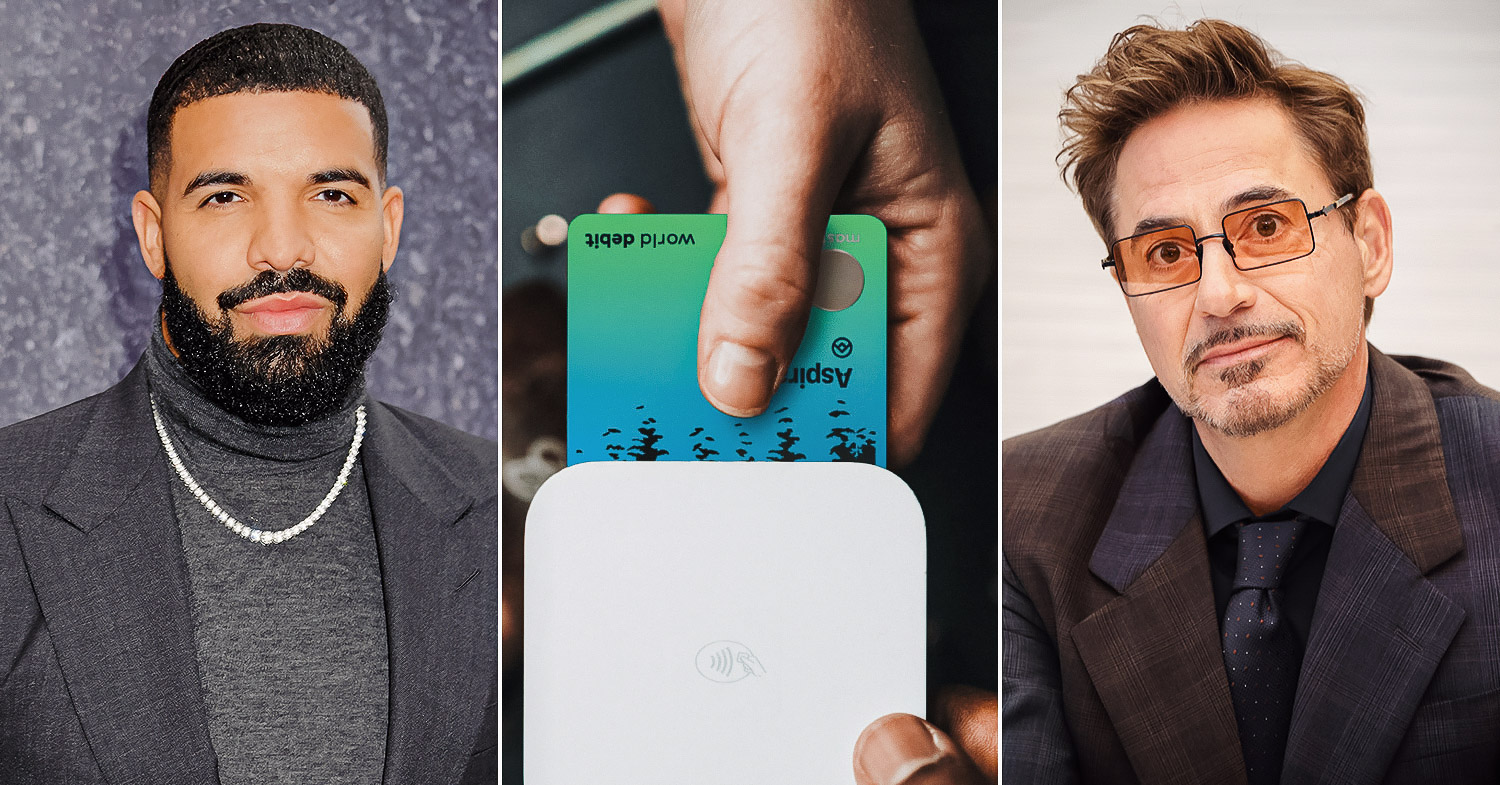 A card being inserted into a reader split with Robert Downey Jr. The celebrity-backed bank Aspiration is going public via a SPAC.