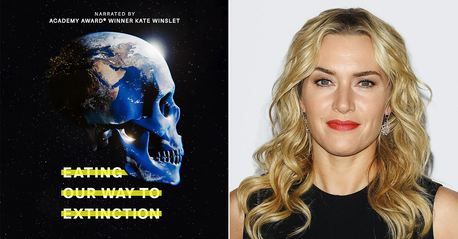 Kate Winslet is narrating a new environmental documentary. Split image features the movie poster (left) and Winslet (right).