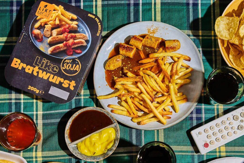 LikeMeat vegan bratwurst and fries.