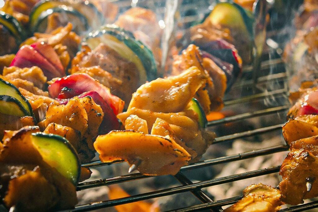 LikeMeat vegan chicken skewers.