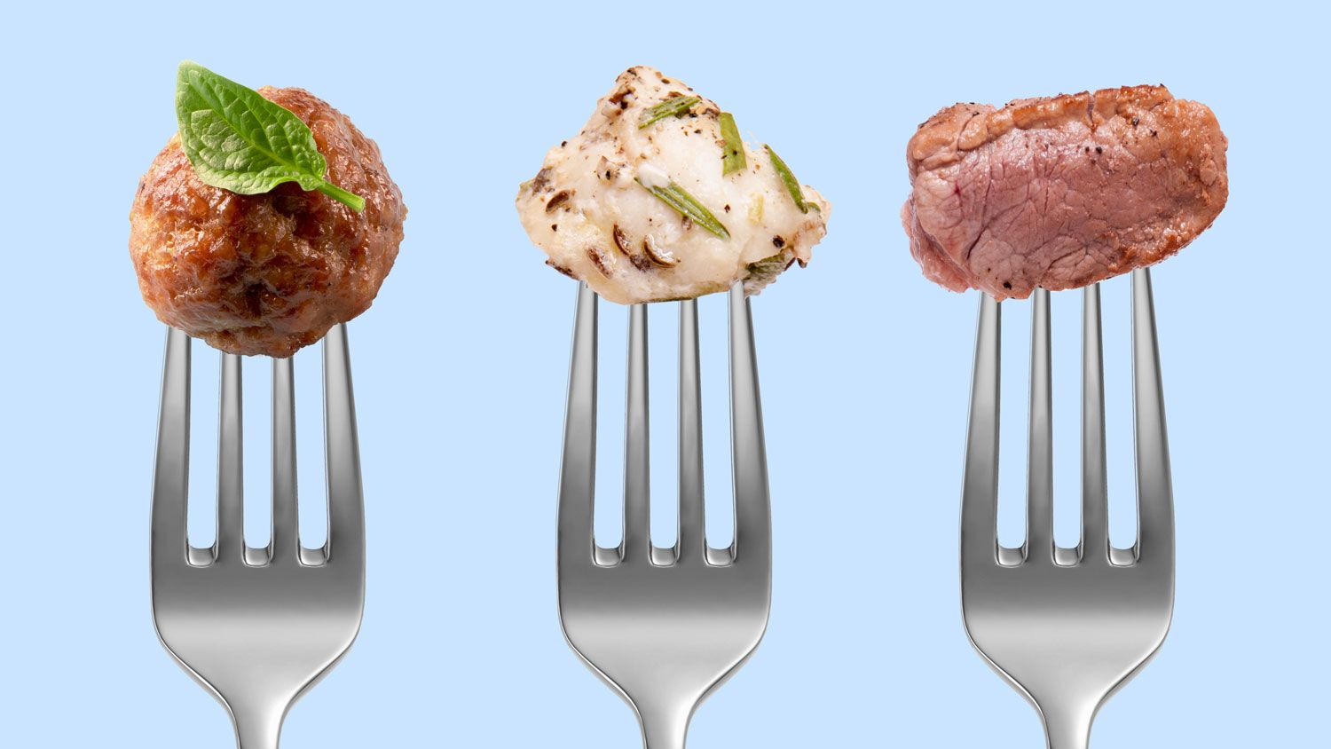 Various types of cultured meat on a fork