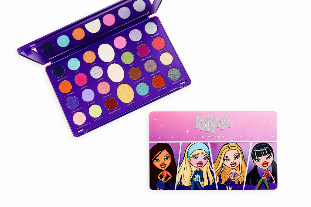 Photo of a noughties era Bratz makeup kit. Y2K beauty and fashion trends are coming back in a big way.