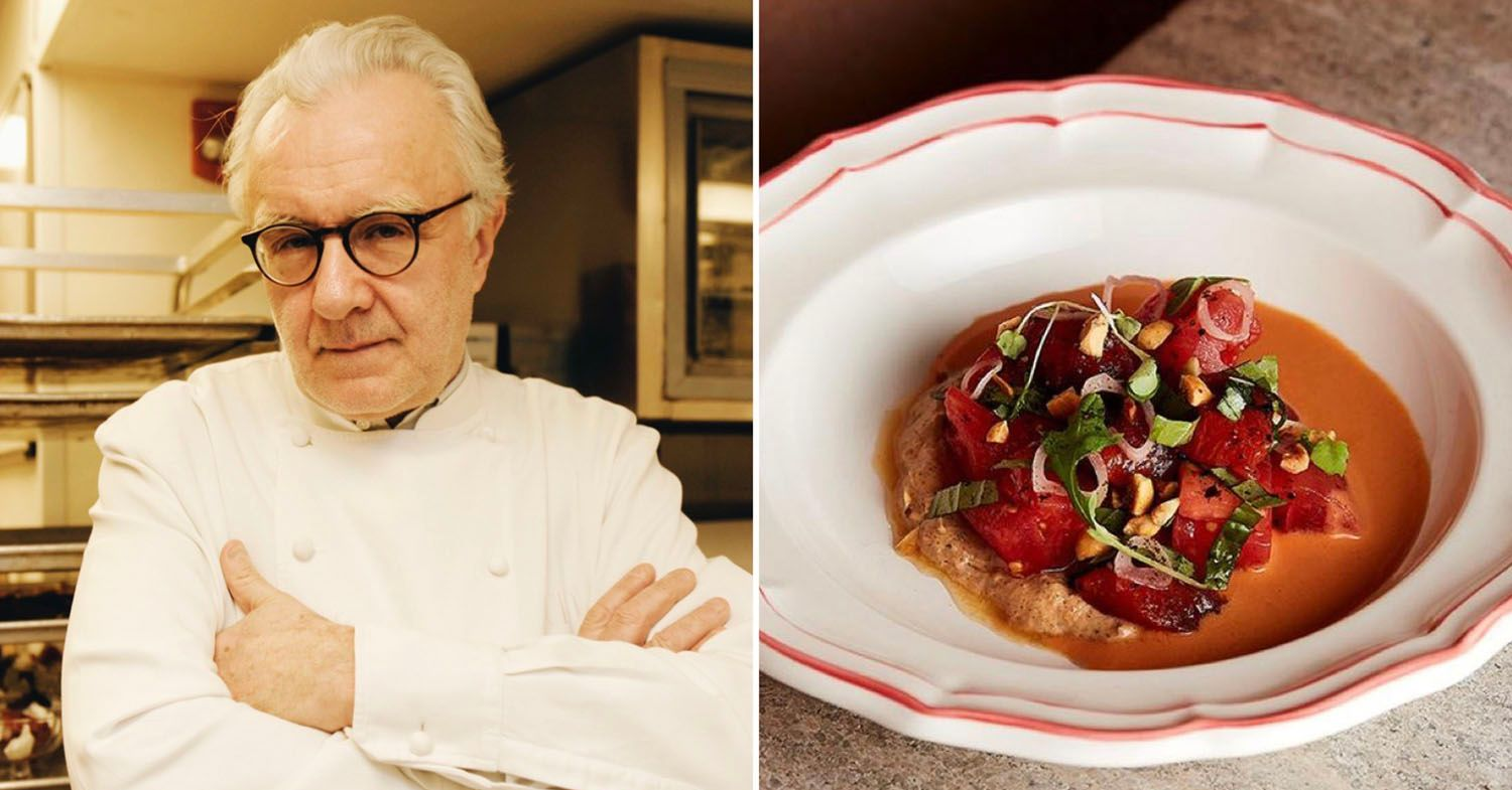 Alain Ducasse' Sapid has opened. A split of Alain Ducasse next to a plant-based dish.