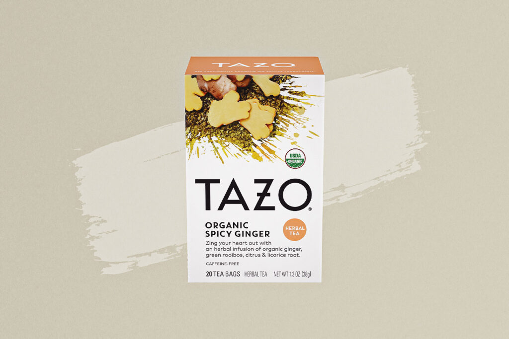 Photo shows Tazo's organic spicy ginger tea, a warming drink that can be enjoyed hot or poured over ice, just like coffee.