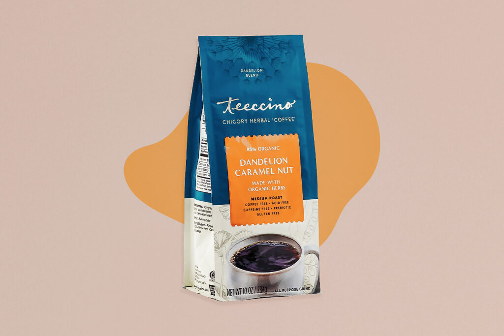 Photo shows Teeccino's coffee alternatives dandelion coffee, which can be enjoyed as a direct alternative.