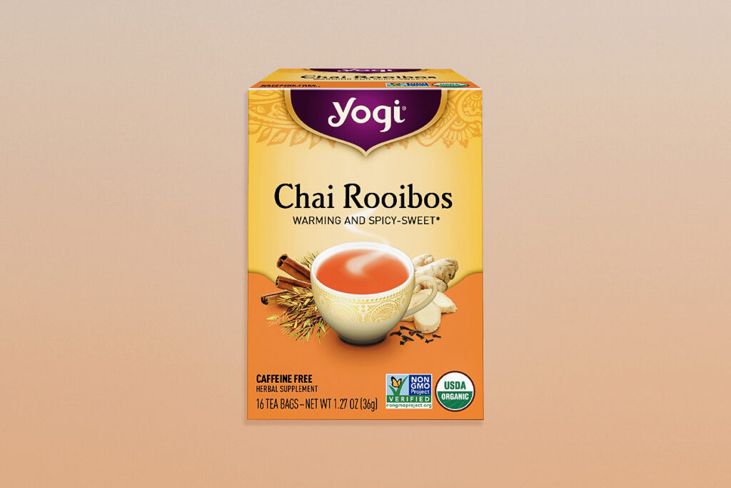 Photo shows Yogi Tea's Chai Rooibos, a caffeine-free favorite.