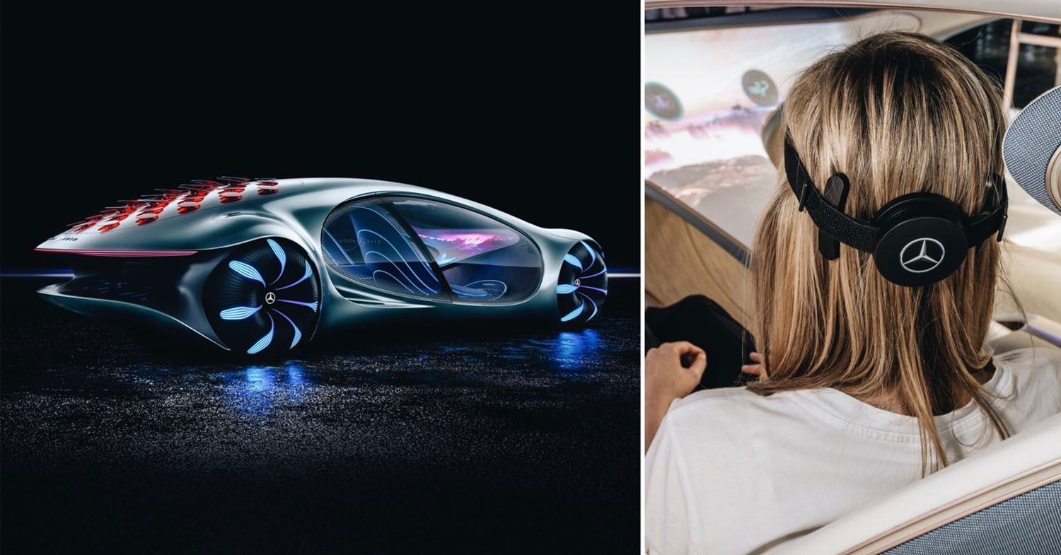 Mercedes Vision AVTR split with a woman wearing the head device