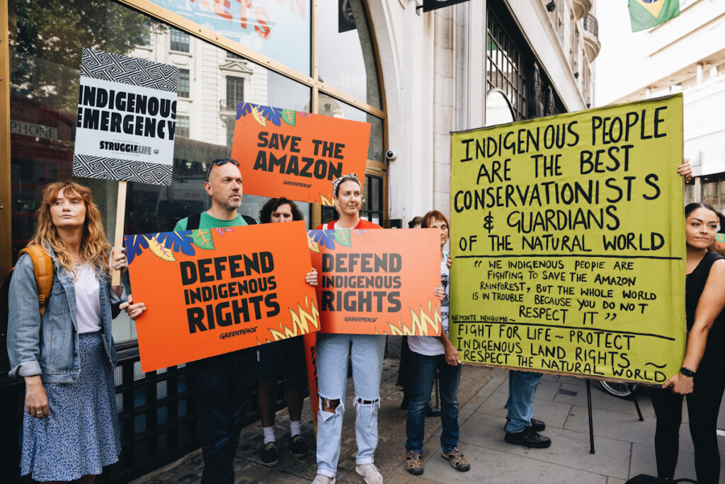 Photo shows XR protestors protesting outside the Brazilian Embassy for Indigenous rights in the Amazon earlier this year.