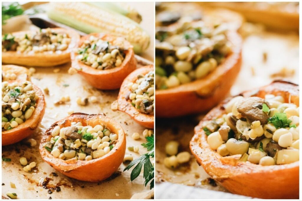 Stuffed squash with leeks and beans