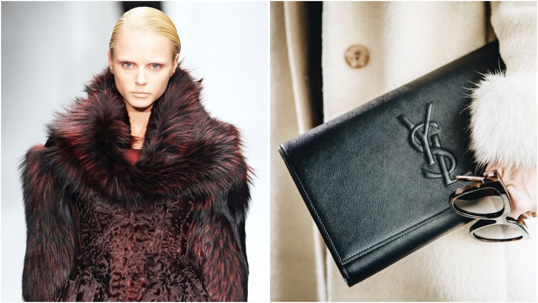 a model in a fur coat split with YSL bag