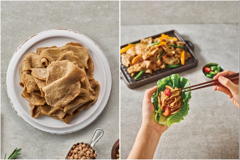 Split image shows South Korean company Zikooin's vegan-friendly Unlimeat. On the left, in a pile on a white plate. On the right, with peppers on a grill and topping a lettuce leaf.