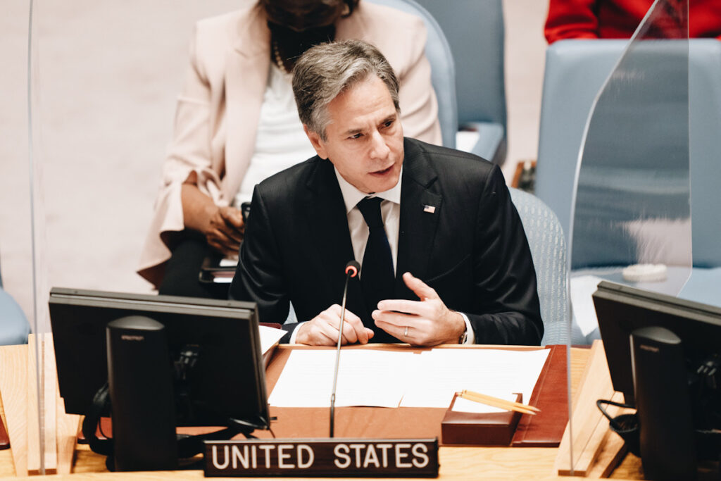 Photo shows Antony Blinken, United States Secretary of State, speaking at the UN General Assembly 2021.
