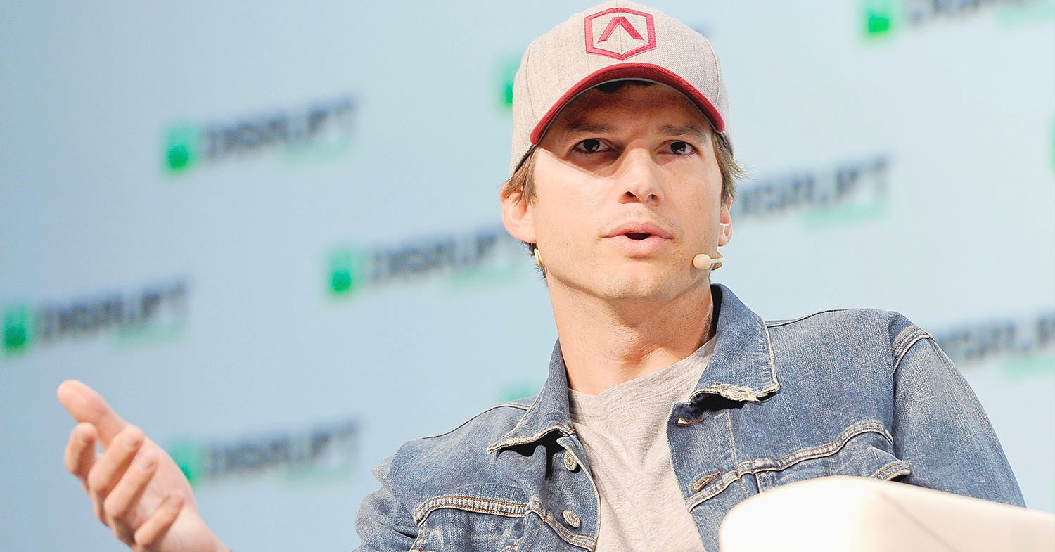 Photo of Ashton Kutcher giving a speech at a conference.