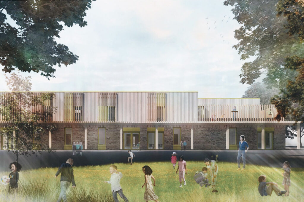 Image shows a mock-up version of the sustainable school, as designed by architects Rock Townsend.