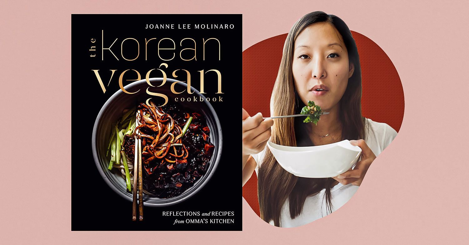 The Korean Vegan Cookbook and Joanne Molinaro against a background